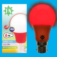 1x 6W LED Red Coloured GLS A60 Light Bulb Lamp BC B22 Low Energy 110 - 265V