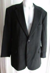 Evan Picone Filenes 100% Camel Hair Black Sport Suit Coat Jacket Blazer Mens 42L