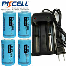 4x 3.7V ICR 18350 900mAh Lithium Rechargeable Batteries & Smart Charger PKCELL
