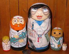 Matryoshka Genuine Russian nesting dolls DOCTORS & NURSES 5 Matt FUNNY Babushka