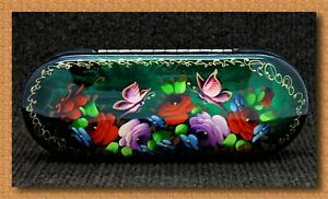 New hard case for glasses. Hand-painted.Russian souvenir. # W-84