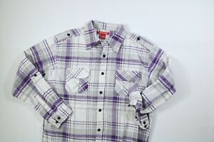 Mens Montage Gray Purple Long Sleeve Flannel Shirt Large NEW!
