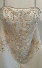 Alfred Angelo Women's Wedding Dress 10 Gown Strapless Mermaid Beaded Train Bling