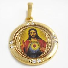Yellow Gold Filled Jesus Christ Zircon Pendant & Necklace ! Gift Jewelry &