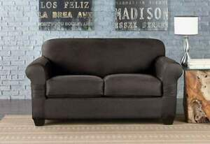 SURE FIT Vintage Leather Loveseat Slipcover | Gray | 2 Cushion