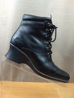 Timberland Hill Black Leather Lace Up Wedge Ankle Women's Boot Sz 7 M Steampunk