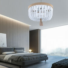 Classic Bohemia Wood Beaded Flush Mount Ceiling Light Antique Chandelier Lamp Us