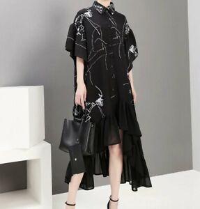 Black White Arty Stella Designer Floaty Loose Casual Oversize Autumn dress  12
