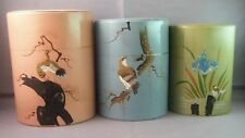 Vintage JAPANESE Hand Painted Asian Birds Orchid Tea Caddy Tin Canister 3pc Set