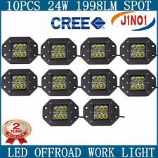 10X24W CREE LED Work Light Bar Off-road Fog ATV SPOT Beam Flush Mount 4W/PCS