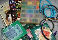 Lot of Cross Stich Supplies Books Floss Hoops Patterns Aida Cloth  You Pick Med