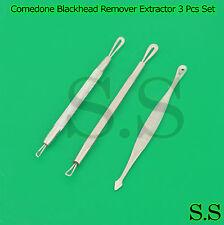 Comedone Blackhead Remover Extractor 3 Pcs Set Spot Blemish Acne Pimple Facial