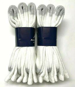6 Pairs Men White Extra Soft Green Seam Work/Sport Crew Sock SZ13-15.USA