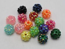 20 Mixed Colour Acrylic Rhinestone DISCO Ball Beads 12mm for Shamballa Bracelet