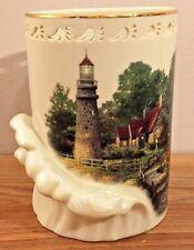 "Lenox The Light of Peace Thomas Kinkade Votive Candle Holder 6""H Lighthouse 2000"