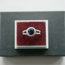 Beautiful 925 Silver Ring With Faceted Sapphire Gem 2.7 Grams Size O In Gift Box