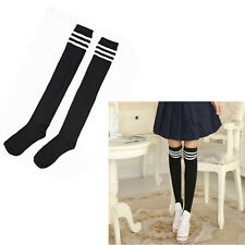 Womens Striped Top Black White Cotton Knee High Socks Over the Knee Thigh New