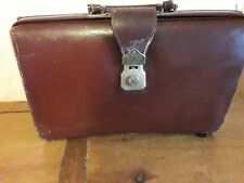 vintage Cheney brown leather doctors gladstone bag briefcase 1950s (with  keys)