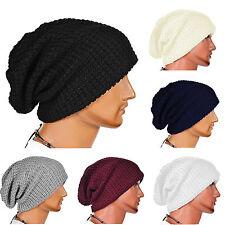 uomo oversize berretto SKULL LARGO cappello inverno Casual Slouchy Maglia da sci