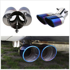 Blue Burnt 63mm Inner Diameter Vehicles Dual Exhaust Muffler Tip Rear Tail Pipe