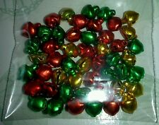 50 x Red/Green/Gold Mix ~ Cute Bells ~ Christmas Crafts ~ Embellishments ~
