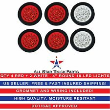 "4"" 18 LED Round Stop Turn Tail Backup Reverse Truck Lights (4) Red & (2) White"