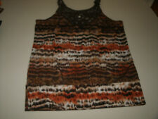 Speechless ladies brown multi colored lacy tank top size medium