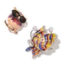 2 Multi Color Gemstone Crystal, Chroma Enameled Dual Owl & Butterfly Brooch