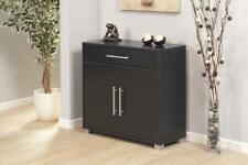 Sorento Black Storage Cabinet 2 Door Cupboard Multi Purpose With Internal Shelf