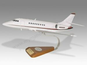 Dassault Falcon 2000EX NetJets Solid Mahogany Replica Airplane Desktop Model