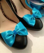 Blue Shoe Clips Turquoise Bow Clips For Shoes Summer Flats Heels Burlesque Bride