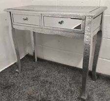SILVER EMBOSSED METAL MIRRORED DRESSING TABLE SIDE CONSOLE TABLE