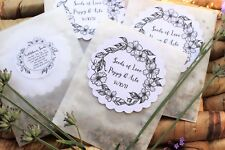 10 x Wildflower Seed Wedding Favours Packets Glassine Bags PERSONALISED