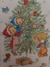 Vtg Hallmark Betsey Clark Christmas Greeting Card Girls Decorating Tree Birds