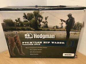 NEW Hodgman Brown Size 9 Hip Waders Nylon Shell PVC Boot Cleated Fly Fishing