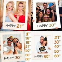 18/21/30/40/50/60th 21st Happy Birthday Party Photo Booth Selfie Frame Props