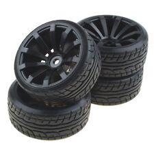 4PCS Tires W/10-spoke Black Wheel Rims RC 1:10 Flat Racing Car #US-RC002
