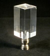Lamp Finial-Transitional ACRYLIC RECTANGULAR CUBE W/SN BASE-CLEAR