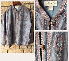 Orvis Women's M Medium Mandarin Collar Stitched Blazer Jacket Shirt
