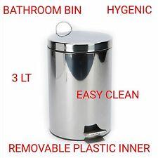 3 Litre Pedal Bin Silver Kitchen Bathroom Waste Rubbish Stainless Steel Disposal