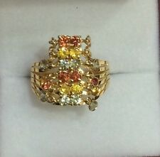 14k Solid Yellow Gold Multi-Color Round Sapphire Cluster Ring3.70GM Size8 /3.70G