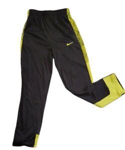 Nike Dri Fit Black Neon Green Boys Running Jogging Pants Size M