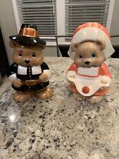 "Adorable Ceramic Pilgrim Couple Bear Figurines-Hand Painted-14 "" Tall -Cute"