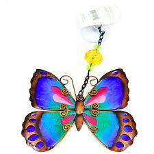 Regal Art & Gift Hand Painted Metal Glass Blue Butterfly Sun Catcher Suncactcher