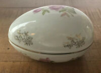 "Lefton china hand painted rose egg shaped box 5.5""× 3"" ×3""very nice #2209"
