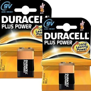 2 x Duracell 9V Plus Power  Block Smoke Alarm Alkaline Battery mn1604 6lr61