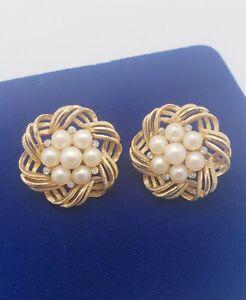 Vintage Signed Crown TRIFARI Faux Pearl & Rhinestones Flower Clip on Earrings