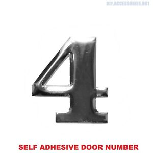 Self Adhesive House Door Number 4 Plaque Sign Chrome Home Letter Apartment Gate