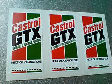 CASTROL GTX Classic Vintage Car Oil Change Reminder Stickers Decals 60mm