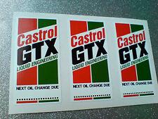 CASTROL GTX Classic Vintage Car Oil Change Reminder Stickers Decals 60mm